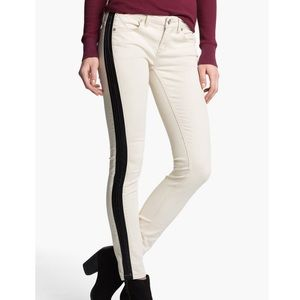 FREE PEOPLE faux leather trim skinny jeans pants